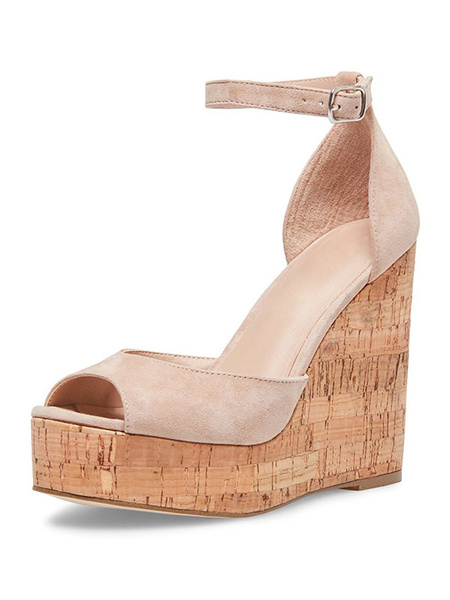 Milanoo Black Wedge Sandals Suede Peep Toe Platform Ankle Strap Sandal Shoes For Women