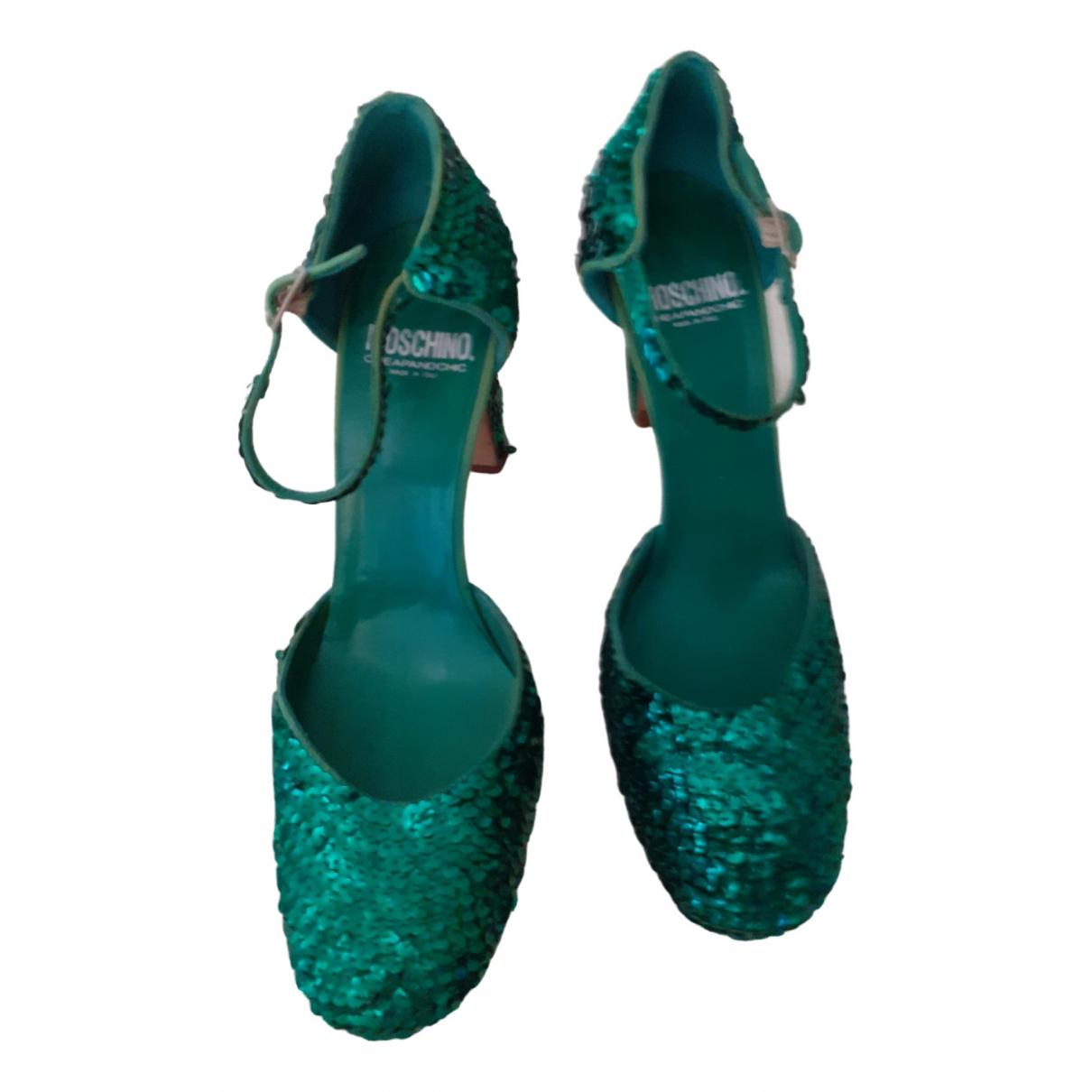 Moschino \N Green Glitter Heels for Women 40 EU