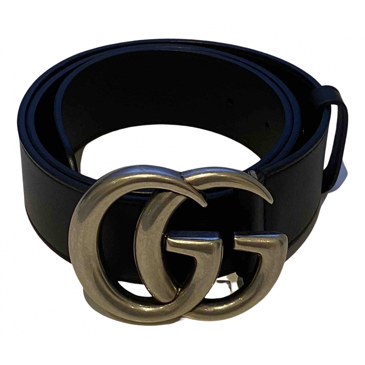 Gucci GG Buckle Black Leather belt for Women 80 cm