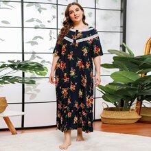 Plus Floral Print Lace Trim Night Dress