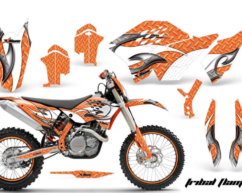 AMR Racing Graphics MX-NP-KTM-C5-07-11-TF W O Kit Decal Wrap + # Plates For KTM SX/XCR-W/EXC/XC/XC-W/XCF-W 2007-2011áTRIBAL WHITE ORANGE