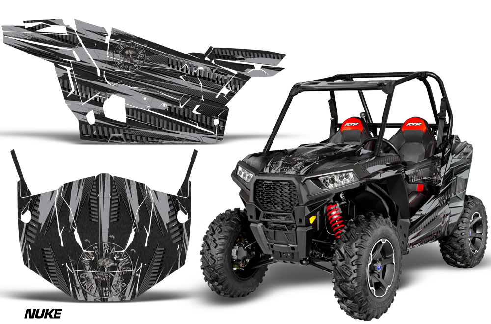 AMR Racing  Full Custom UTV Graphics Decal Kit Wrap Nuke Black Polaris RZR S 900 15-16