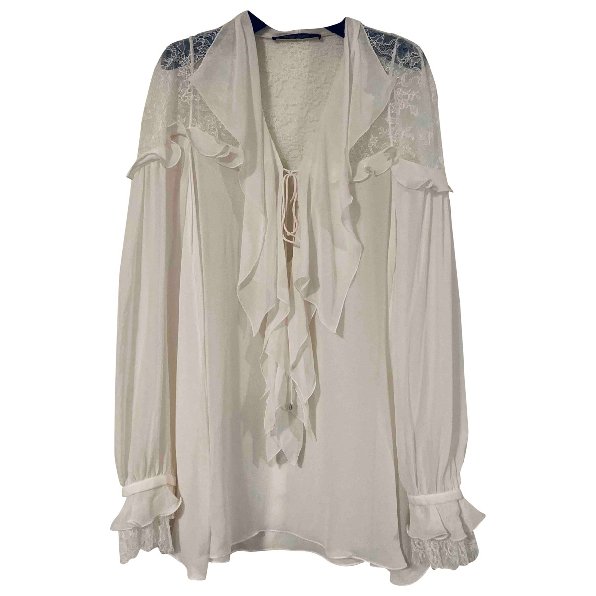 Roberto Cavalli \N White Silk  top for Women 38 IT