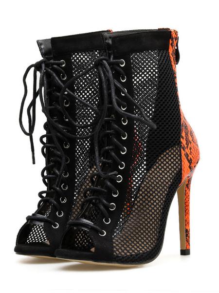 Milanoo Womens Summer Boots Peep Toe Lace Up 4.5 Stiletto Heel Sandals