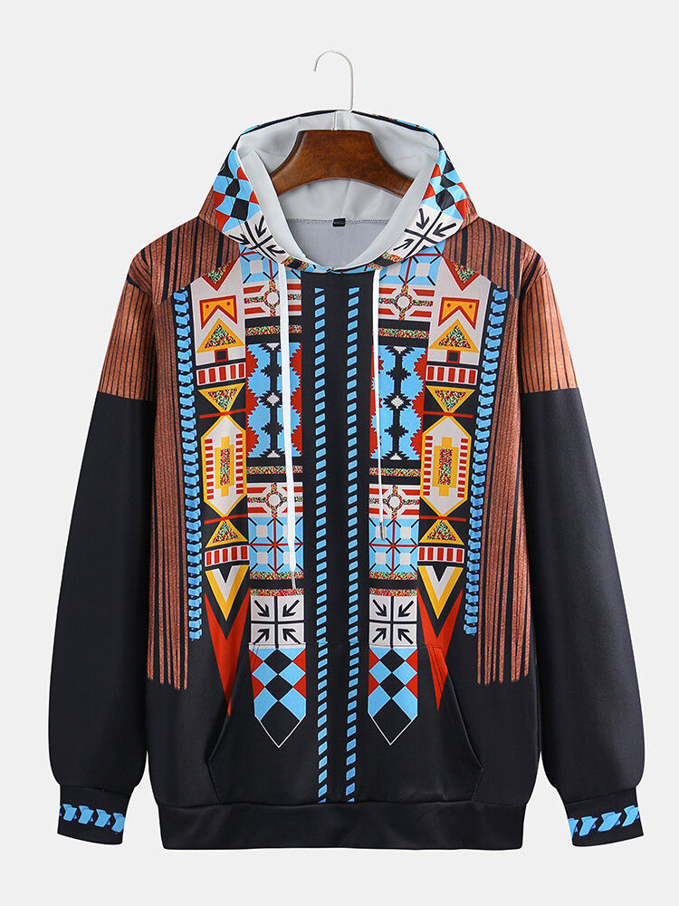 Mens Indian Style Ethnic Printing Long Sleeve Loose Multi Size Casual Hoodies
