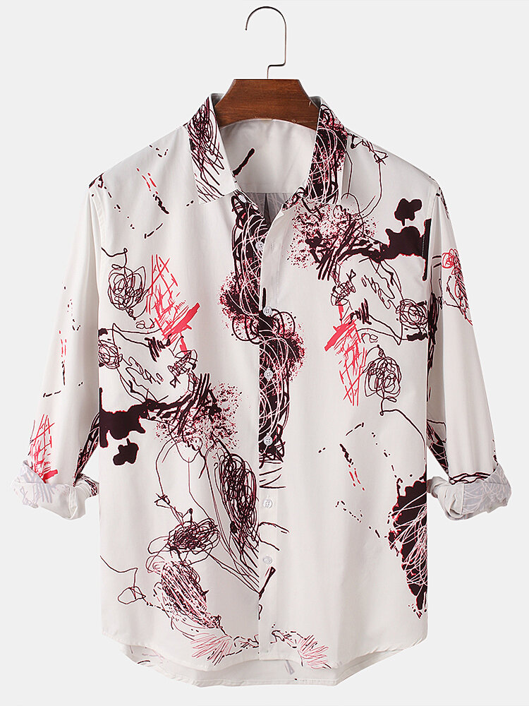 Mens Graffiti Print Relaxed Fit Casual High Low Hem Long Sleeve Shirts