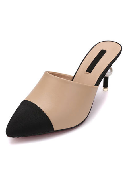 Milanoo High Heel Mules Khaki Pointed Toe Patchwork Slip On Mule Shoes For Women