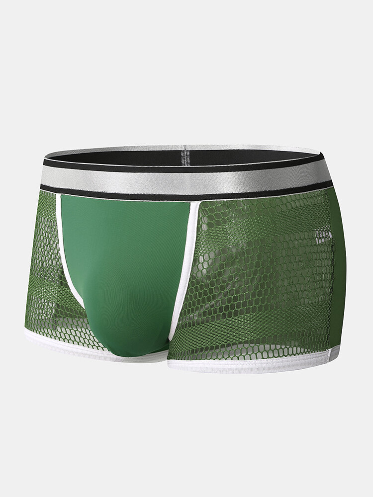 Mens Solid Color Patchwork Mesh Breathable Boxer Briefs Print Waistband Underwear
