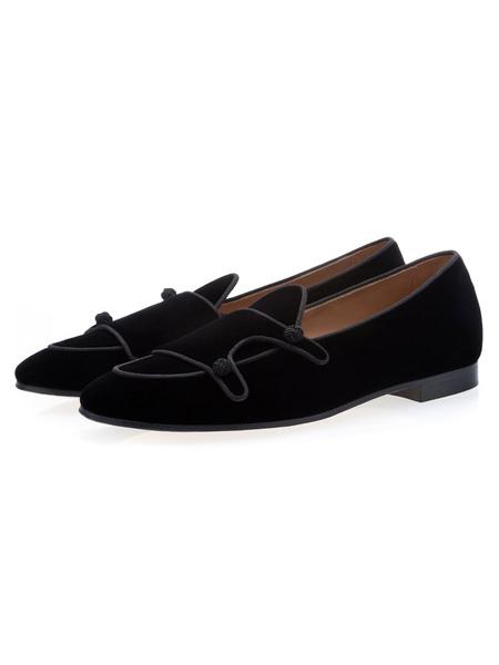 Milanoo Mens Black Loafers Velvet Round Toe Prom Shoes