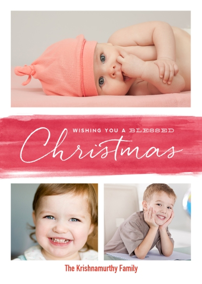 Christmas Photo Cards 5x7 Cards, Premium Cardstock 120lb with Elegant Corners, Card & Stationery -A Wash of Blessed Wishes