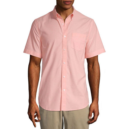 St. John's Bay Stretch Mens Short Sleeve Button-Down Shirt, Medium , Orange