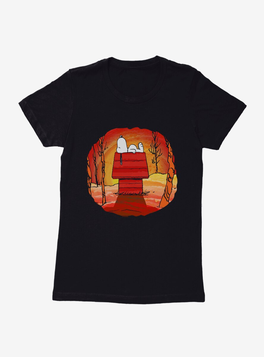 Peanuts Halloween Snoopy Sunset Nap Womens T-Shirt