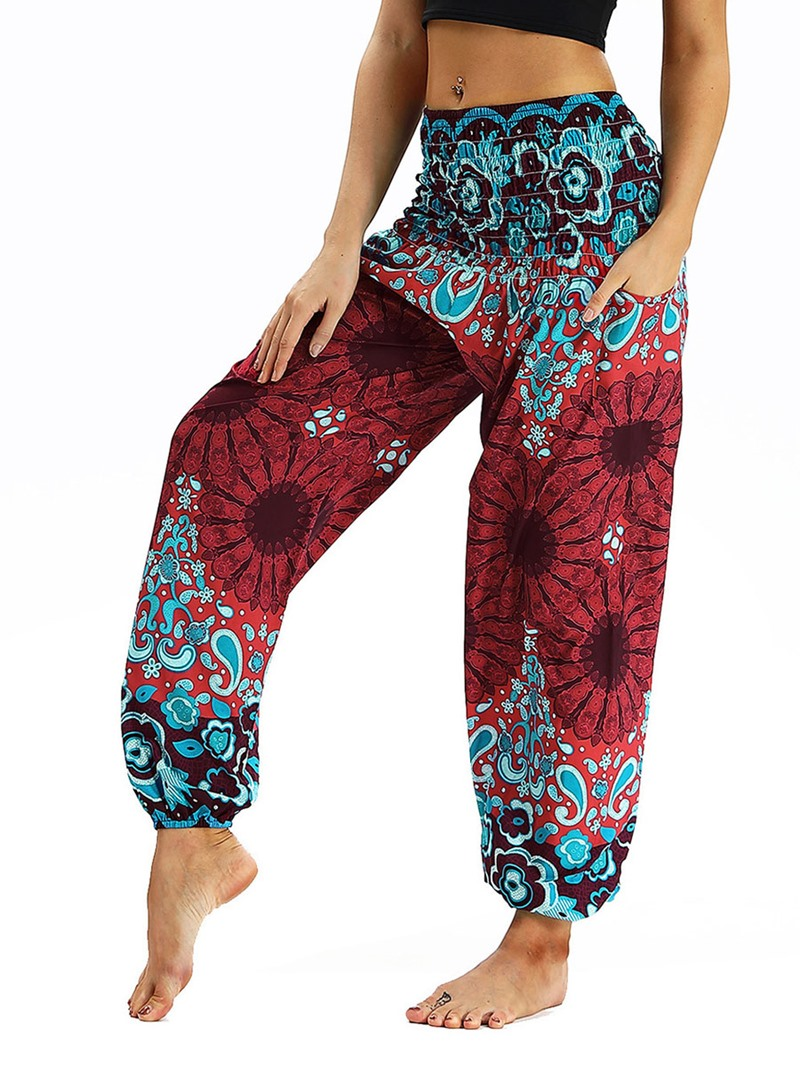 Ericdress Print Floral Loose Yoga Elastic Waist Pants