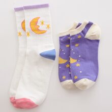 2pairs Moon Pattern Socks