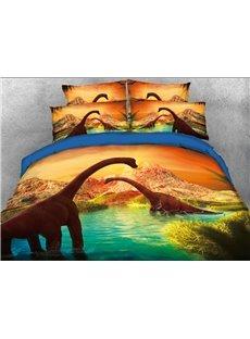 Brachiosaurus Dinosaurs Walking in Water Landscape 3D 4-Piece Bedding Sets/Duvet Covers