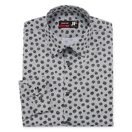JF J.Ferrar - Slim Easy Care Stretch Mens Point Collar Long Sleeve Stretch Dress Shirt, 18-18.5 34-35, Black