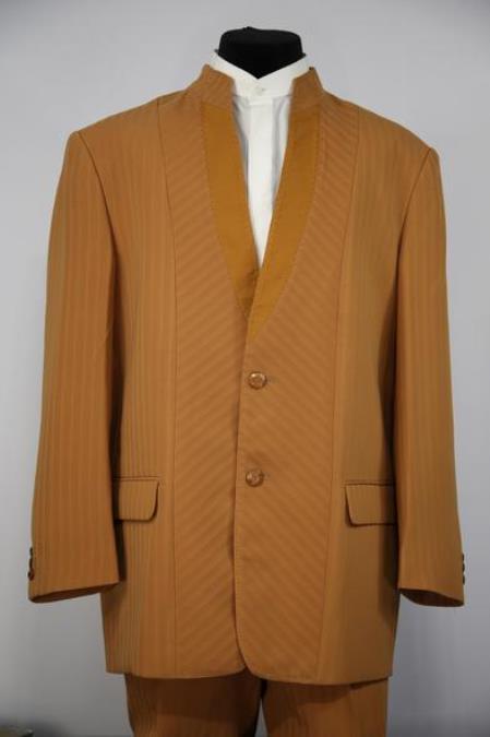 Mens Mandarin Collar Rhinestone Accents Cross Stripe Zoot Suit Camel