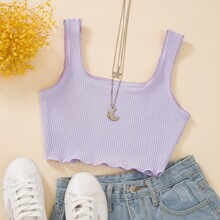 Solid Rib-knit Crop Tank Top