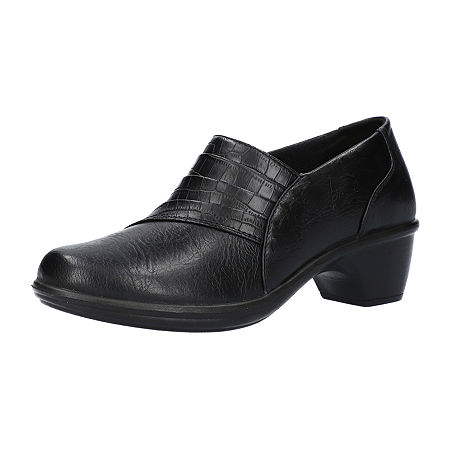 Easy Street Womens Louisa Clogs, 7 1/2 Wide, Black