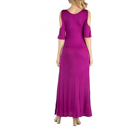 24/7 Comfort Apparel Half Sleeve Open Shoulder Maxi Dress, 3x , Pink