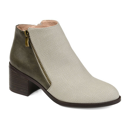 Journee Collection Womens Sabrina Stacked Heel Booties, 10 Medium, Gray