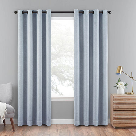 Eclipse Cara 100% Blackout Grommet-Top Single Curtain Panel, One Size , Gray