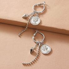 1pair Beaded Coin Charm Drop Earrings