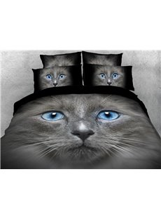 British Shorthair Cat Anti-wrinkle Warm Duvet Cover Set 4-Piece 3D Animal Bedding Set