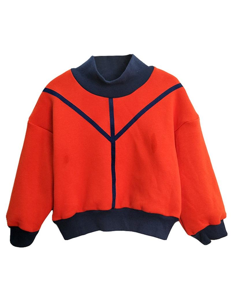Ericdress Color Block Fleece Pullover Girls' Sweater
