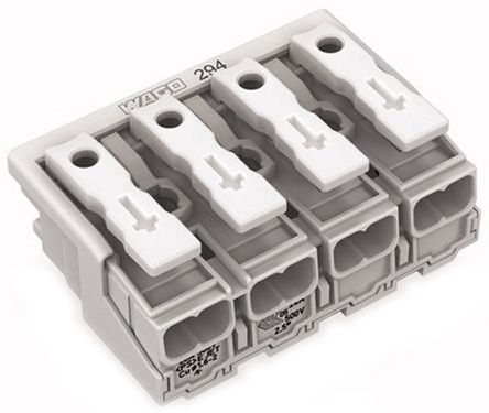 Wago 294 Series, Female 4P Pole Power Supply Connector, Rated At 24A, 500 V, White (500)