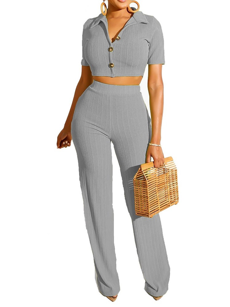 Ericdress Casual Plain Pants Straight Lapel Women's Suit T-Shirt And Pants Two Piece Sets