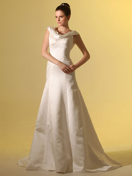 Milanoo Beautiful Ivory A-line Cowl Neck Flower Satin Wedding Dress For Bride