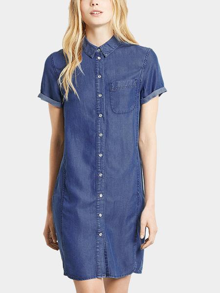 Yoins Denim Shirt Dress In College style