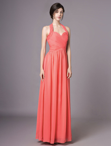 Milanoo Coral Bridesmaid Dresses Long Chiffon Halter Pleated Backless Wedding Party Dress