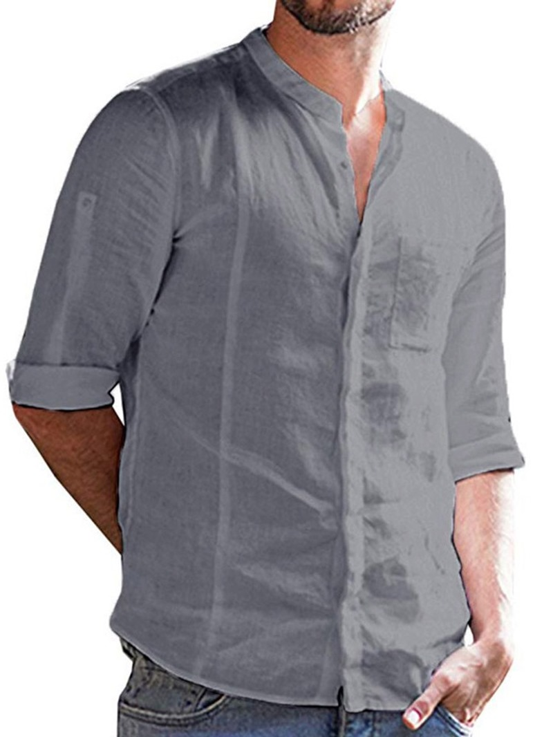 Ericdress Men's Casual Plain Slim Shirt