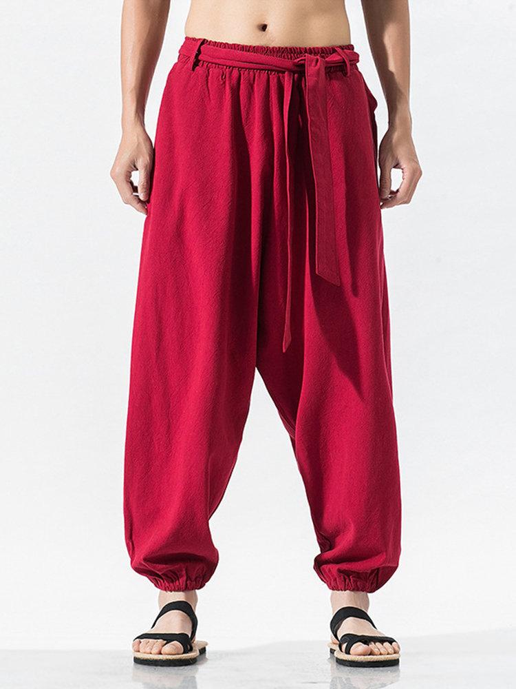 Men's Cotton Linen Casual Pants Lightweight Wide Leg Trousers Cotton Harem Pants