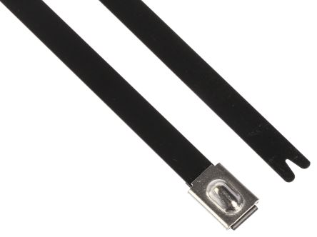 HellermannTyton , MBT14HFC Series Black Polyester Coated Stainless Steel Roller Ball Cable Tie, 362mm x 7.9 mm