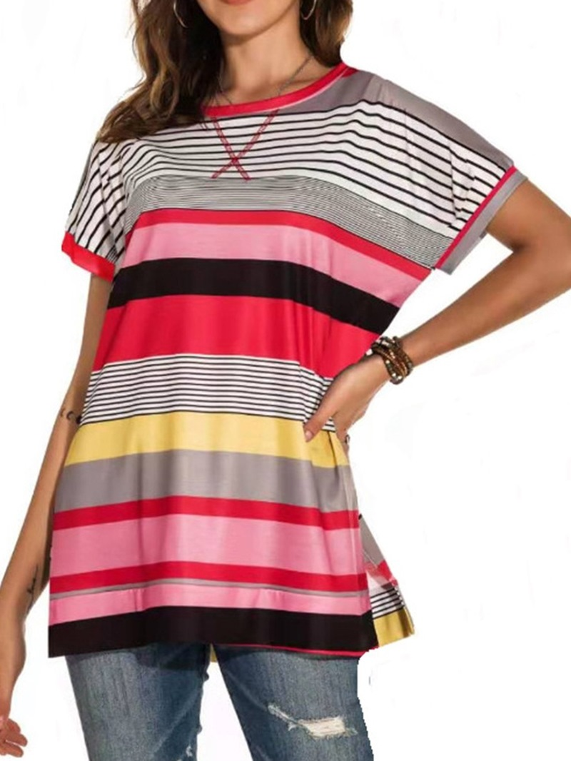 Ericdress Short Sleeve Stripe Mid-Length Casual Loose T-Shirt