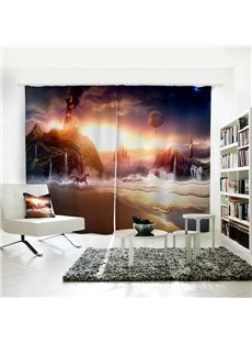 Starry Sky Seaside with Running Horse Pattern 3D Polyester Curtain