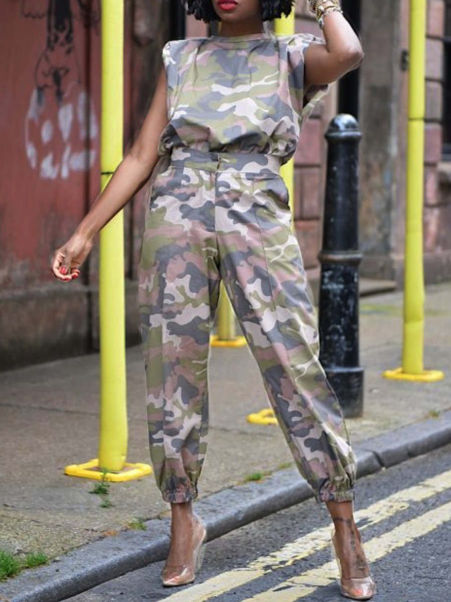 LW lovely Casual O Neck Camo Print Loose Two Piece Pants Set