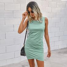 Solid Criss Cross Fitted Dress
