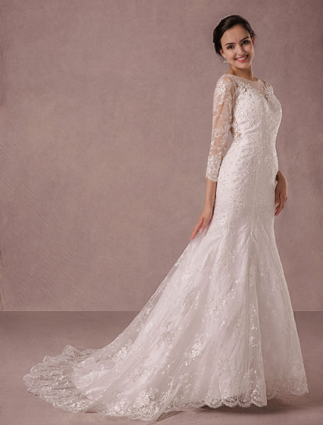 Milanoo Mermaid Wedding Dress Long Sleeves Lace Illusion Back Applique Beading Court Train Bridal Gown