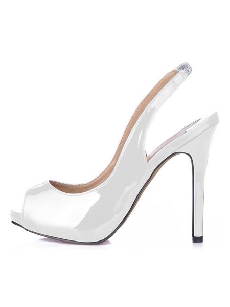 Milanoo Black  Sling Back Peep Toe Patent Leather Womens Shoes