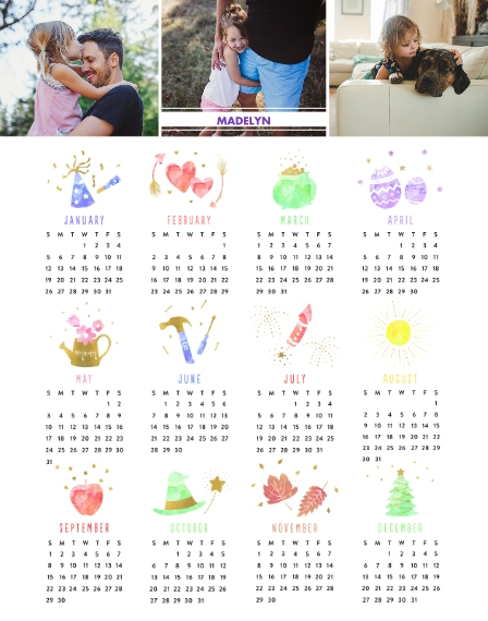 Calendar 11x14 Poster, Home Décor -A Year Of Celebrations
