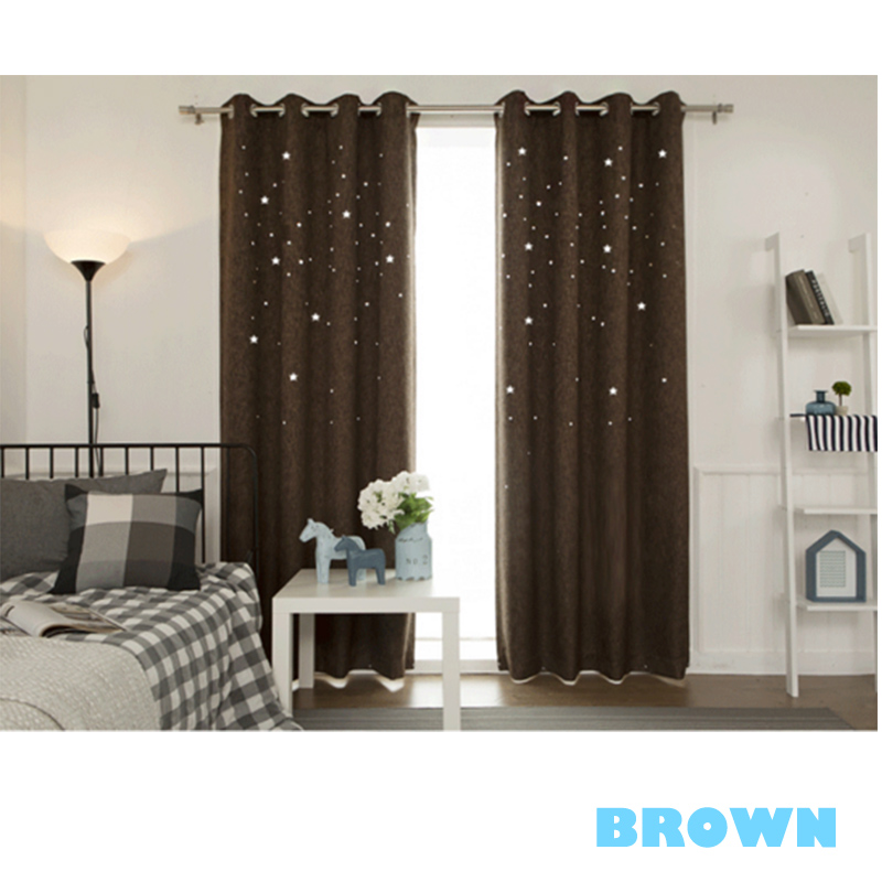 Blackout Polyester Hollowed-out Twinkle Stars Solid Colors Grommet Top Room Curtains