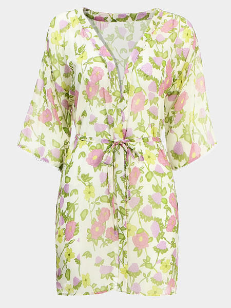 Yoins Chiffon Floral Print Kimono With Slim Waistband