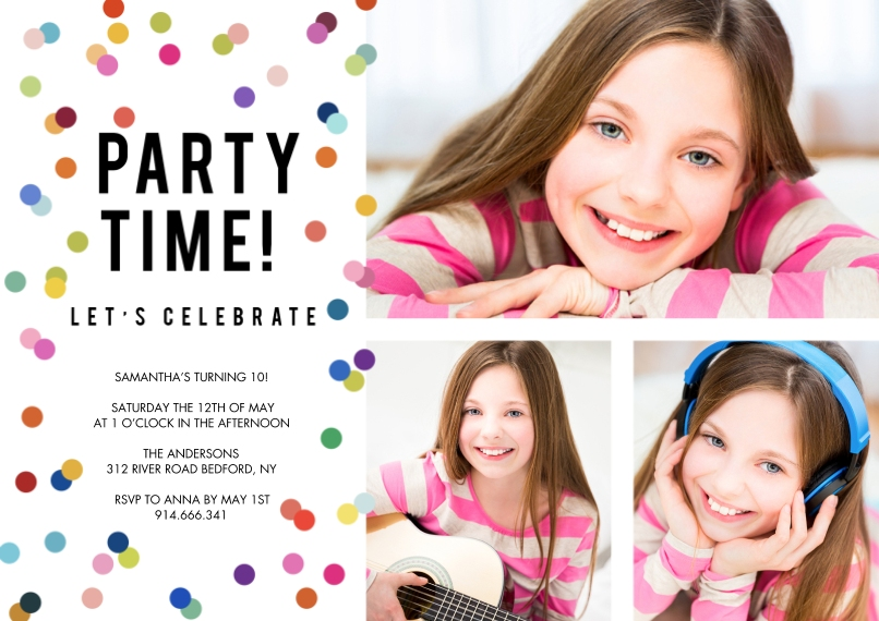 Kids Birthday Party 5x7 Cards, Premium Cardstock 120lb with Scalloped Corners, Card & Stationery -Party Invite Colorful Dots by Tumbalina