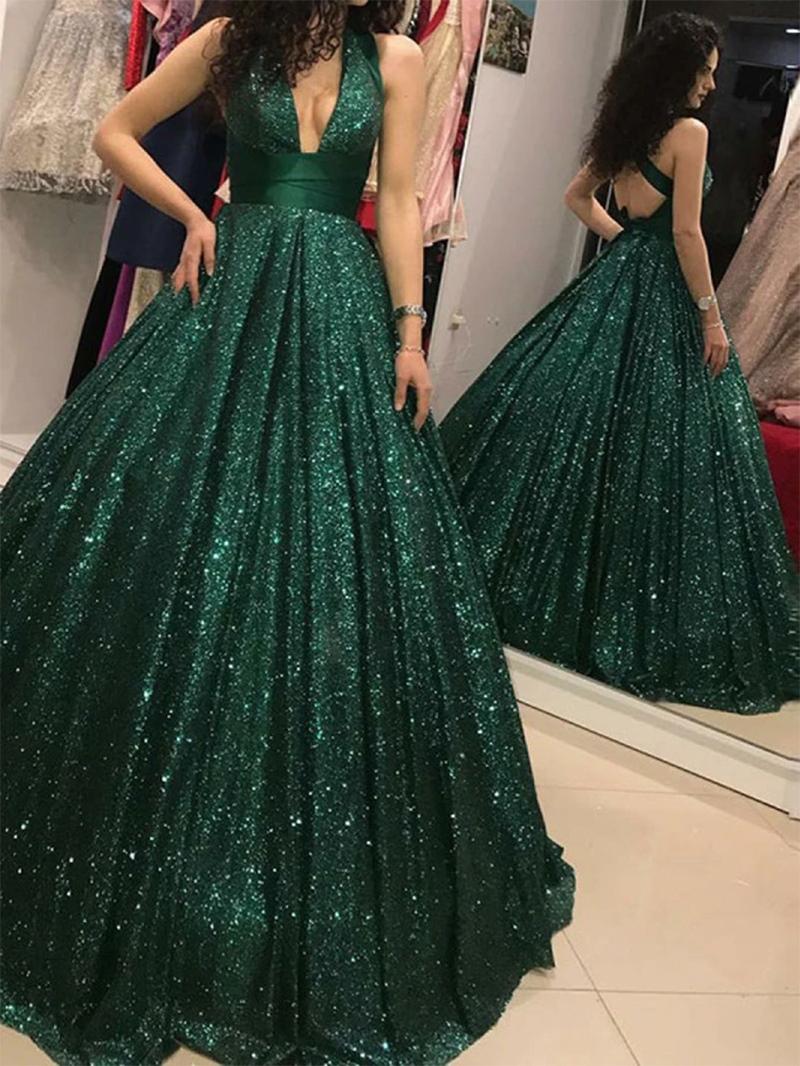 Ericdress Sequins Halter Sleeveless Floor-Length Prom Dress 2020