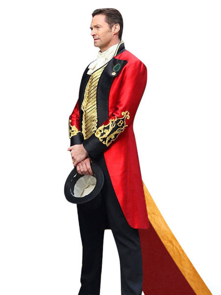 Milanoo Carnival Circus Costume Red Men\'s PantsShirtOvercoat Set Polyester Halloween Holidays Costumes