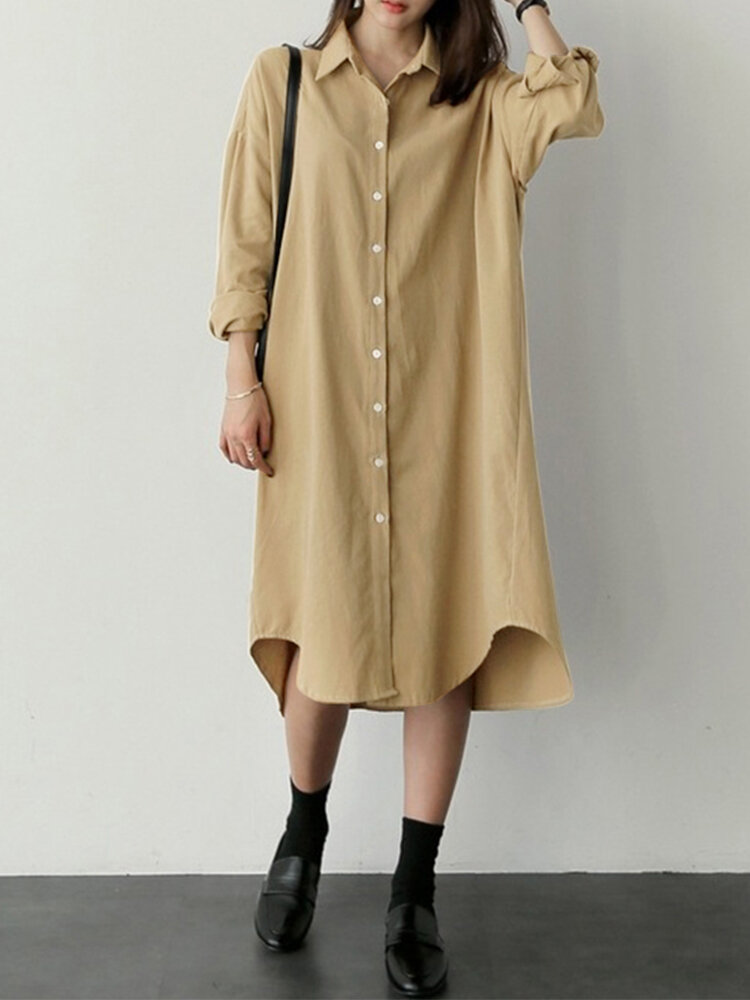 Casual Solid Color Turn-down Collar Long Sleeve Irregular Shirt Dress